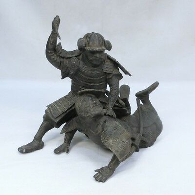 B602: Japanese old antimony ware battle of SAMURAI statue with good atmosphere.