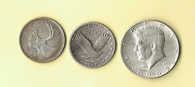Us And Canada Silver Coins Standing Liberty Kennedy
