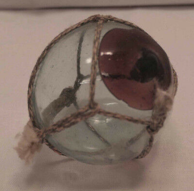 Vintage Glass Fishing Float CRANBERRY SEAL Japanese  #950