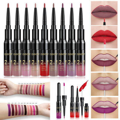 QIBEST Double-end Lasting Lipliner Waterproof Lip Liner Stick Pencil Lip Gloss