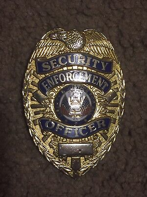 Metal Pinback Security Enforcement Officer Badge Shield Gold