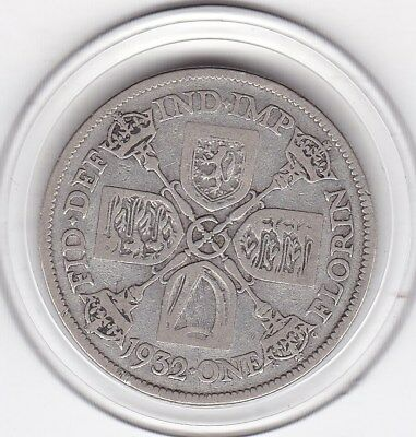 Scarce  1932  King  George  V  Florin  (2/-)  Sterling Silver (50%)  Coin