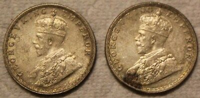 Silver 1916 & 1918 Half Rupee 1/2 King George V India Coins