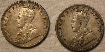 Silver 1918 & 1919 One Rupee King George V India Coins