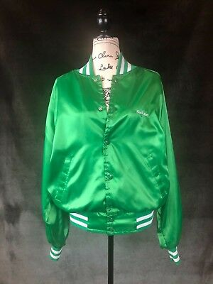 Vintage Green Satin Jacket, Snap Front Striped Cuffs, Great Lakes Sportswear