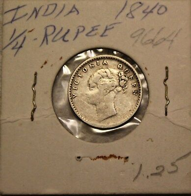 1840 East India Company One Quarter 1/4 Rupee Queen Victoria Silver Coin