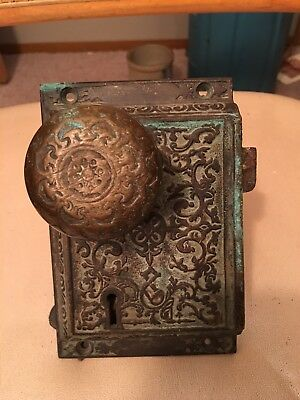 Vintage Door Knob And Lock Plate Great For Collection