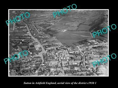Old Large Historic Photo Sutton In Ashfield England, District Aerial View 1930 2