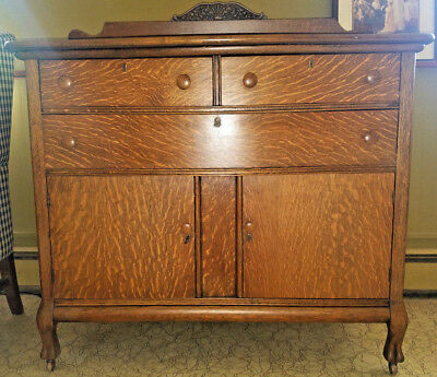 Antique Oak Cabinet Sideboard Buffet Server Hutch Chest (Gorgeous Tiger Pattern)