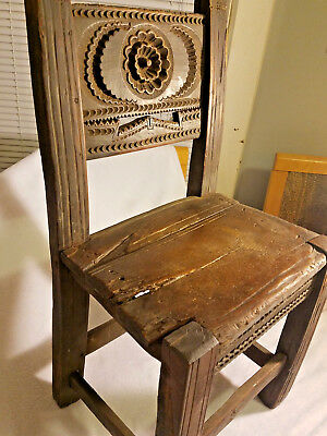 Hand-Carved Primitive Folk Art: Antique Child's Chair with Wooden Pegs/Not Nails