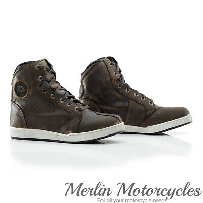 RST Official Isle of Man TT Crosby Leather Suede Motorcycle Bike Boots - Brown