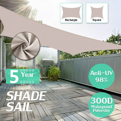 300D Kahki Heavy Duty Shade Sail Sun Outdoor Garden Patio Awning Canopy