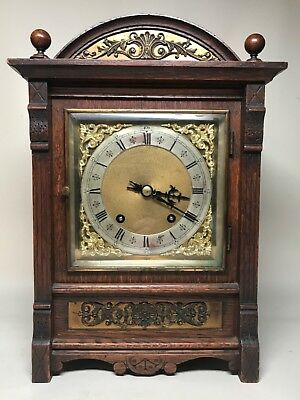 Late 19th Century Brass Dial German 1/4 Striking Bracket Mantel Clock. Not Fusee