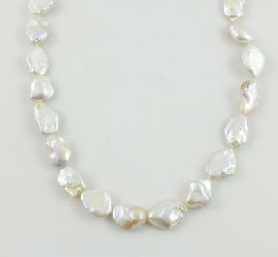 14K White Gold White Keshi Pearl Beaded String Necklace 24.5""