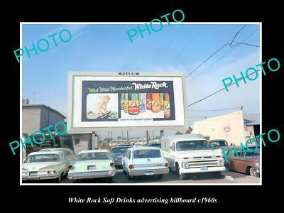 OLD LARGE HISTORIC PHOTO OF WHITE ROCK SOFT DRINK ADVERTISING BILLBOARD c1960s 1