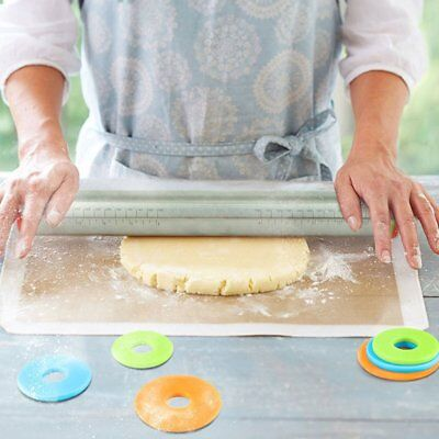 """17"""" Adjustable Rolling Pin Stainless Steel Non-stick Pastry Dough Baking Tool SC"""