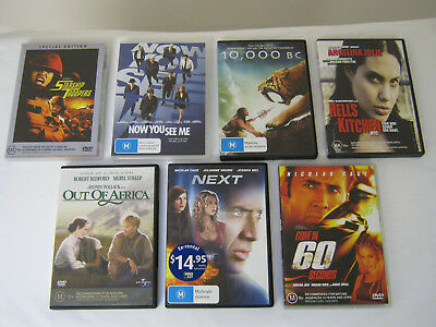 Bulk Lot of 7 x DVDs (Action/Drama - Includes Angelina Jolie, Nicolas Cage)