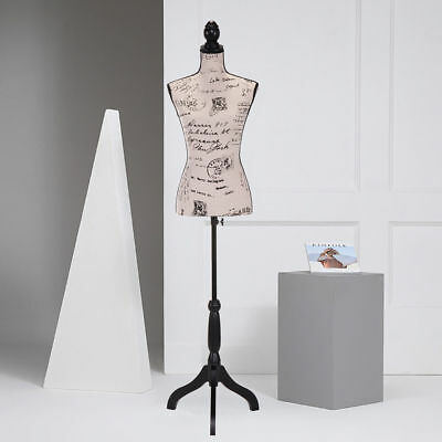 Female Mannequin Torso Clothing Dress Form Display Beige Tripod Stand