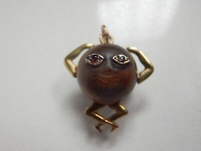 Rare 15Ct Gold Ww1 Touchwud Good Luck Charm With Original Garnet Set Eyes