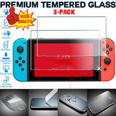 3 Pack of Genuine TEMPERED GLASS Screen Protector Covers For Nintendo Switch Lot