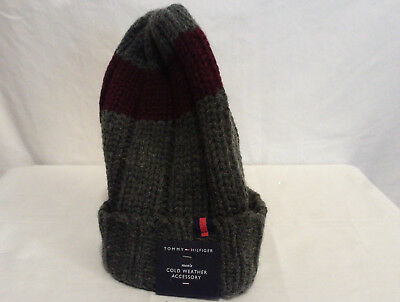 bf60ff97e NEW TOMMY HILFIGER Winter Beanie Hat Cap Men's Heathered Gray Flag ...