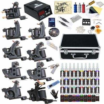 Complete Tattoo Kit 9 Top Machine Gun 40 Color Ink Power Supply Needle  #3