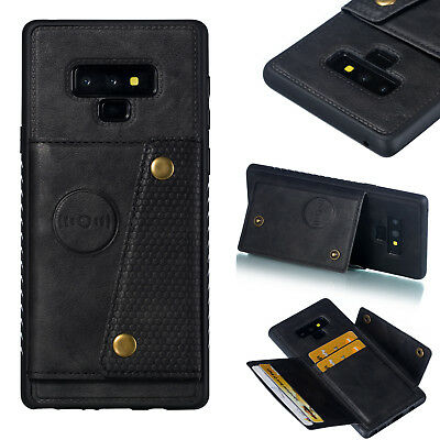 For Samsung S8 S9 Plus Note 9 PU Leather Magnet Car Holder Card Slot Case Cover