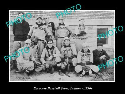 OLD LARGE HISTORIC PHOTO OF SYRACUSE INDIANA , THE TOWN BASEBALL TEAM c1930