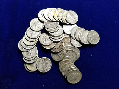MERCURY DIMES -   $5.00 FV ROLL  ALL 1940s    LOT OF 50   -  90% SILVER