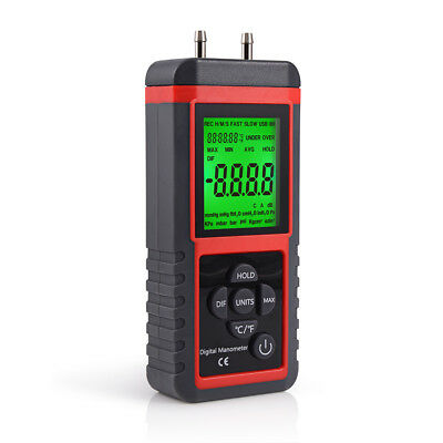 LCD Digital Manometer Differential Gauge Air Pressure Meter Data Hold ±2.999Psi