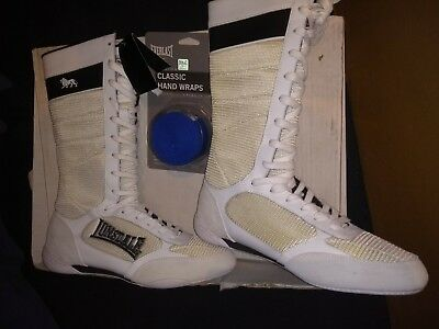 lonsdale,  boxing boots, mid leg, not ankle boots. white, size 8,