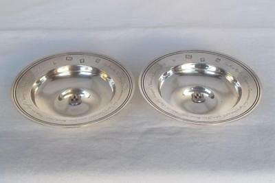 A Fine Pair Of Solid Sterling Silver & Enamel Presentation Armada Dishes 1961.