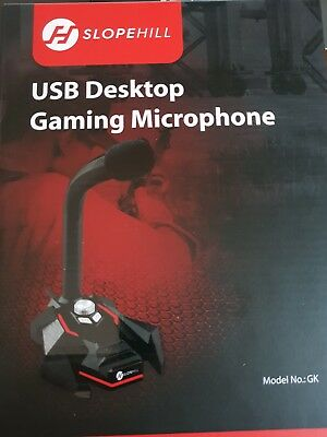 Microfono Gaming USB da Gioco per Pc Computer Desktop + Registratore Audio + Led