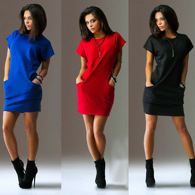 Women Short Sleeve O Neck Mini Dress Pocket Loose Dress Office Lady Dress 6A