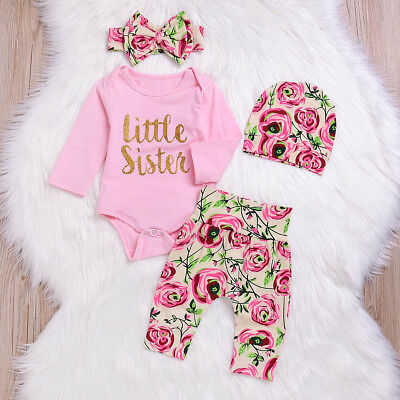 UK STOCK 4PCS Newborn Baby Girls Tops Romper Floral Pants Outfits Set Clothes
