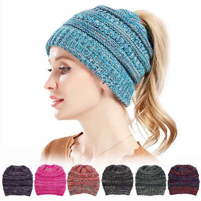 Women Tail Messy Soft Beanie Bun Hat Ponytail Stretchy Knitted Crochet Skull Cap