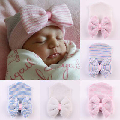 Baby Girls Infant Striped Soft Hat with Bow Cap Newborn Knitted Hospital Beanie