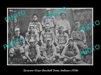 OLD LARGE HISTORIC PHOTO OF SYRACUSE INDIANA , THE TOWN BASEBALL TEAM c1920