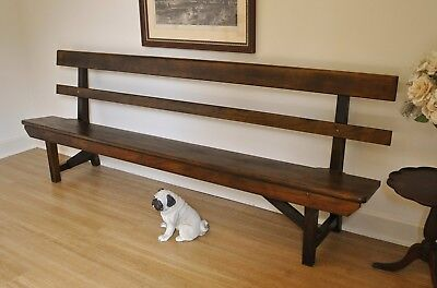 Rustic Antique Kauri Pine Church Pew Hall Window Feature Bench Seat 245 cm long