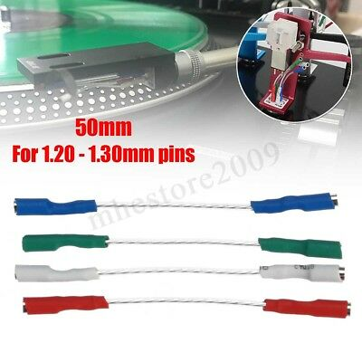 4x 50mm 5N Pure Sliver Leads Header Headshell Wire Cable Litz For 1.2-1.3mm Pins