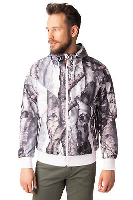 PUMA Bomber Jacket Size M Mesh Lined Lightweight Printed Full Zip Hooded