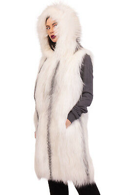 N 8 NUMEROOTO Marble Fox Fur Gilet 40 / S Silky Lined Hooded Made in Italy