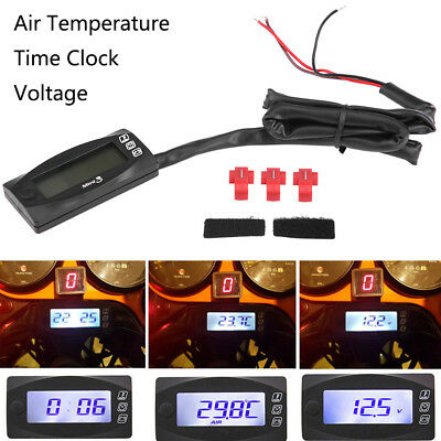 Motorcycle Digital Air Temperature Thermometer Time Voltmeter Water Meter Gauge