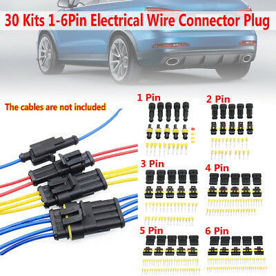 10 Kit 1 2 3 4 Pin Way Sealed Waterproof Electrical Wire Connector Plug Car Set