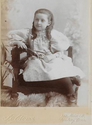 Cabinet Card Photo Cab5   Pretty Young Girl Nice Dress    - Folsoms - Danbury Ct