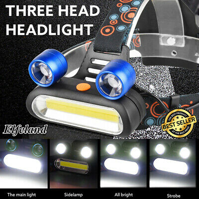 50000LM 2x T6 LED +COB USB Rechargeable 18650 Headlamp Head Light Torch