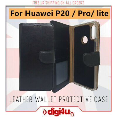 Huawei P20 & Pro Lite Leather Flip Card Holder Wallet Protective Hard Case Cover