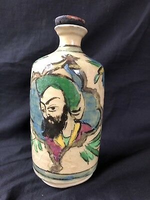 Middle Eastern Triangular Qajar Antique Persian Polychrome Pottery Bottle Flask