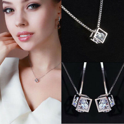 New Fashion Womens Jewelry Magic Cube Silver Crystal chain Necklace Pendant Gift
