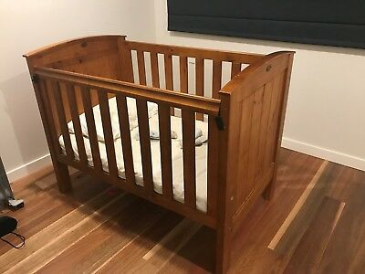 Boori Country Collection Convertible Cot / Toddler Bed Brown Timber + Mattress